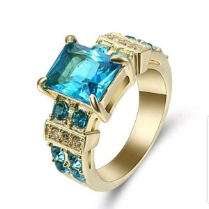 Blue CZ Ring Aquamarine Crystal gold Rhodium Plate